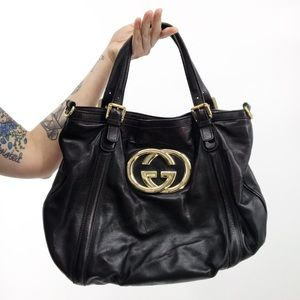 Gucci : Black Leather Britt Tote Shoulder Bag